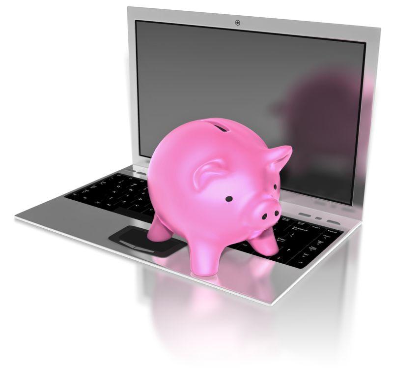 Clipart - Piggy Bank On Notebook