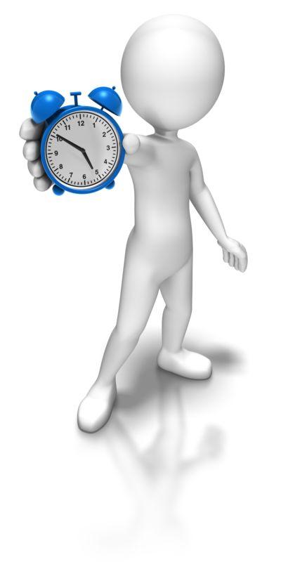 Clipart - Stick Figure Holding Alarm Clock