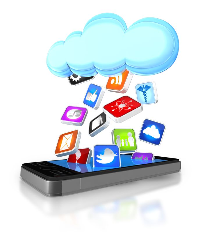 Clipart - Apps Falling From Cloud Into Smart Phone