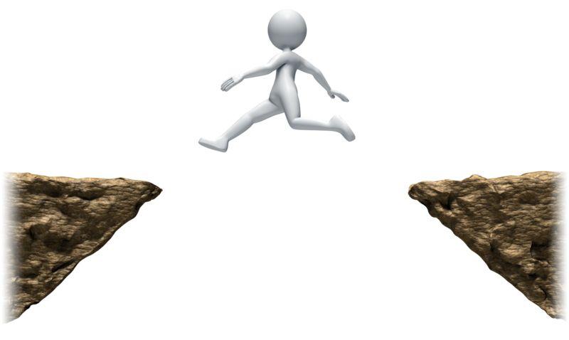 Clipart - Stick Figure Leaping Ledges