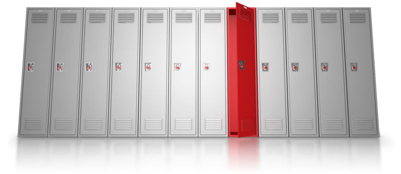 Clipart - School Locker Row Stand Out