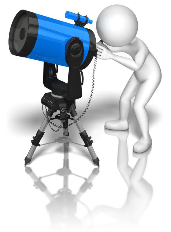 Clipart - Stick Figure Blue Telescope