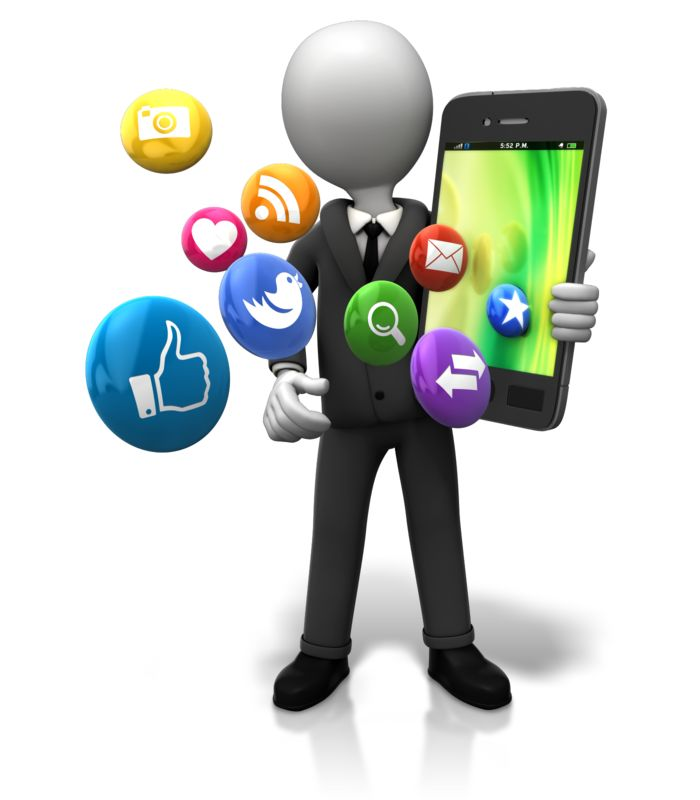 Clipart - Holding Big Smart Phone Icons