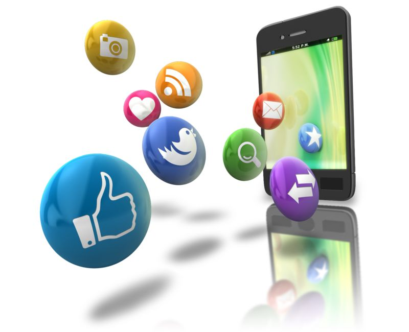 Clipart - Smart Phone Floating Media Icons