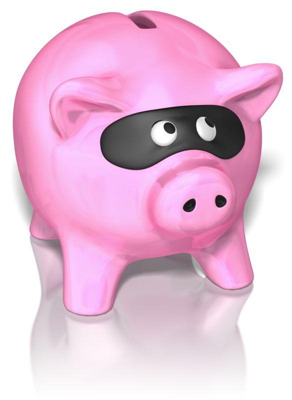Clipart - Piggy Bank Wearing Mask