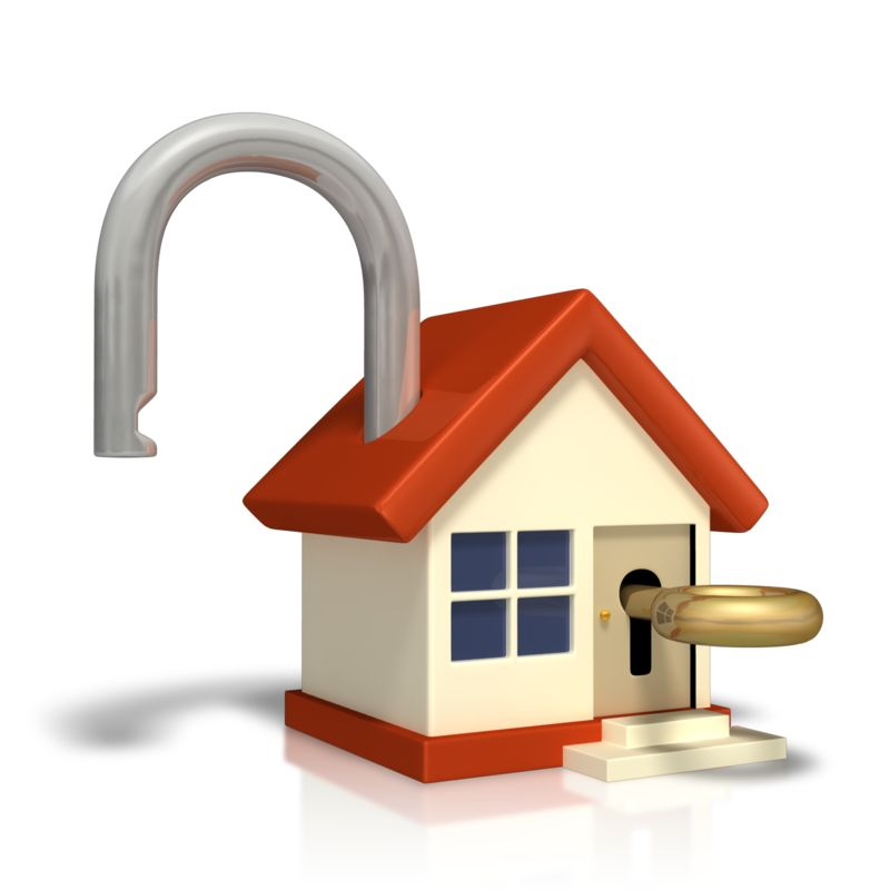 Clipart - Unlocked House With Key
