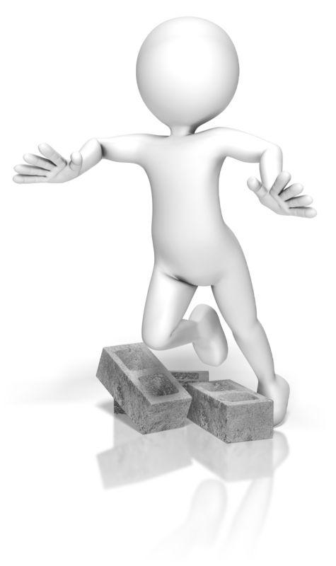 Clipart - Stick Figure Trip Cinder Blocks