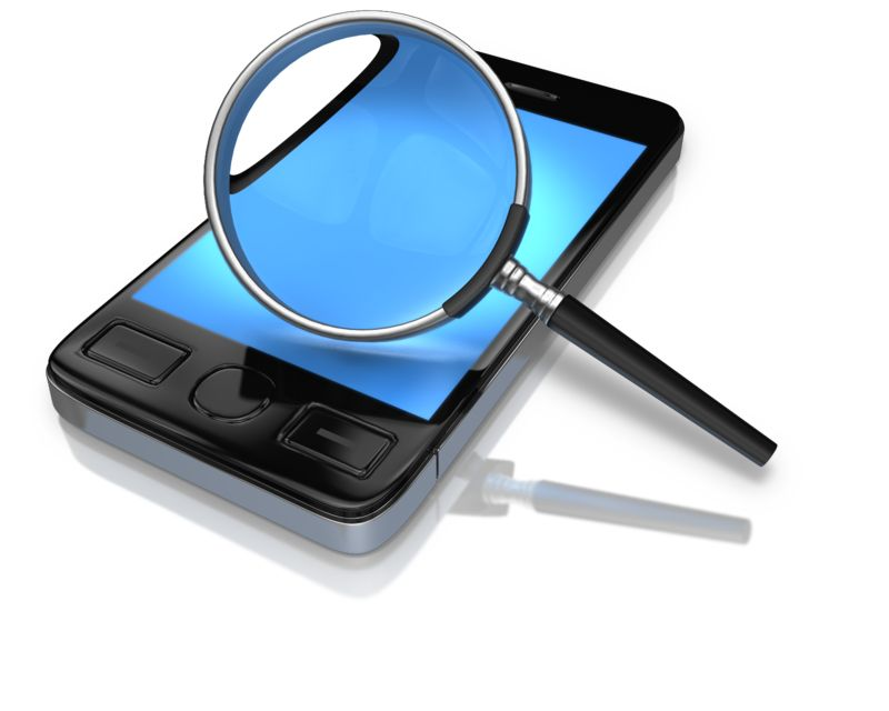 Clipart - Magnify Glass Searching Phone