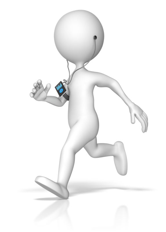 Clipart - Exercising Listening To Media Device
