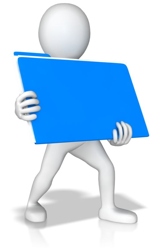 Clipart - Stick Figure Holding Folder