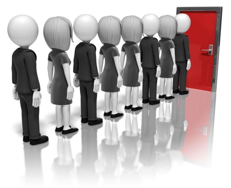 Clipart - Business People Line-Up For Door