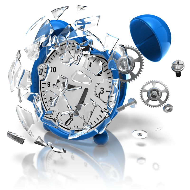 Clipart - Alarm Clock Smashed