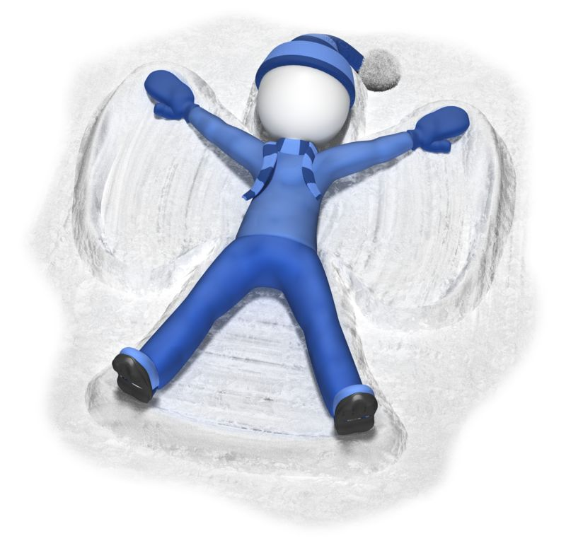 Clipart - Stick Figure Making Snow Angel