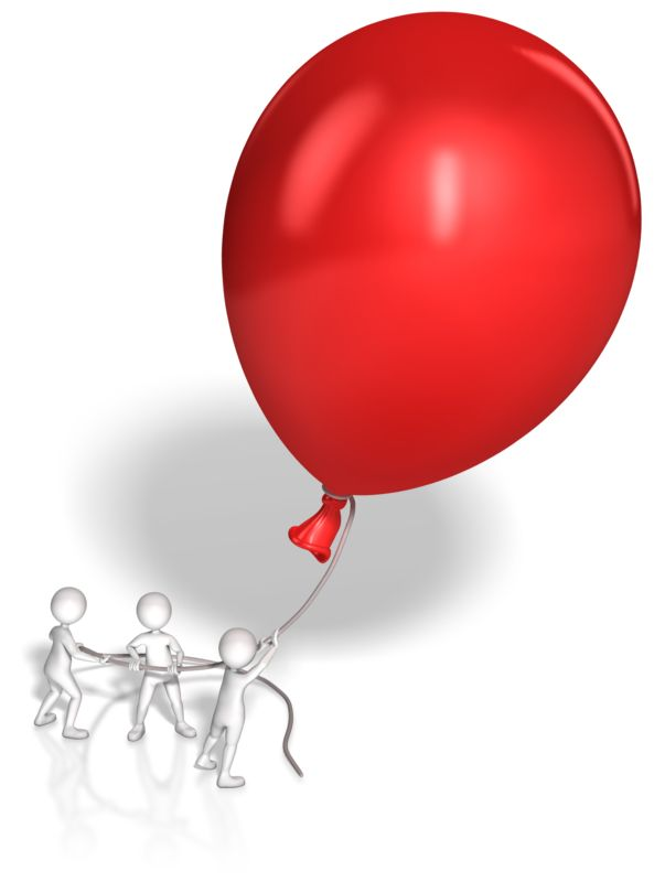Clipart - Stick Figures Hold Giant Balloon