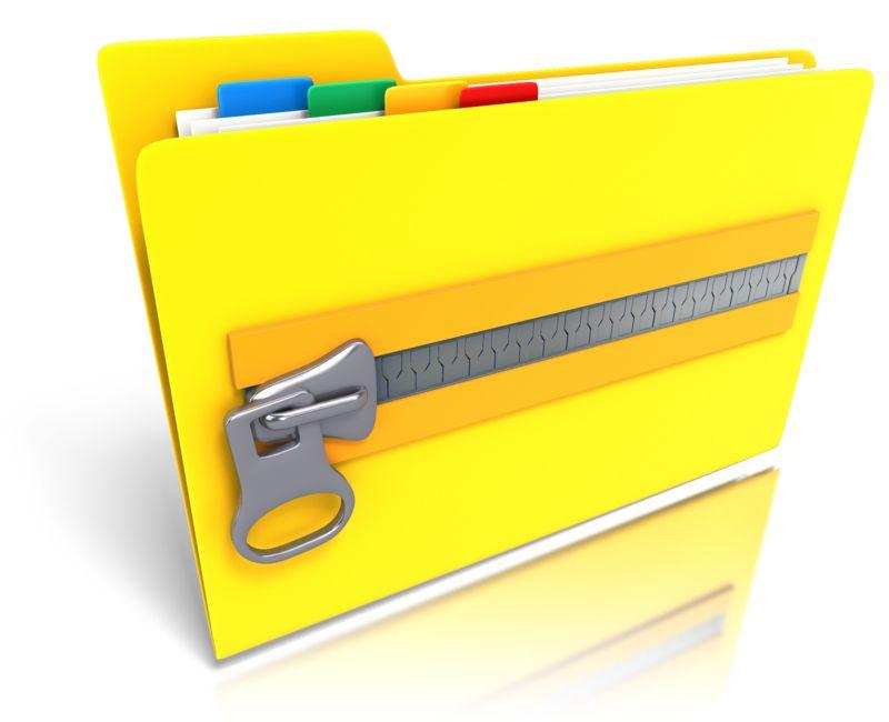 Clipart - Folder Files Zipped Up