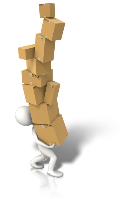 Clipart - Carrying Lots Of Boxes