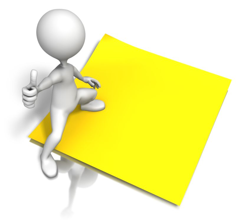 Clipart - Figure Standing On Blank Note