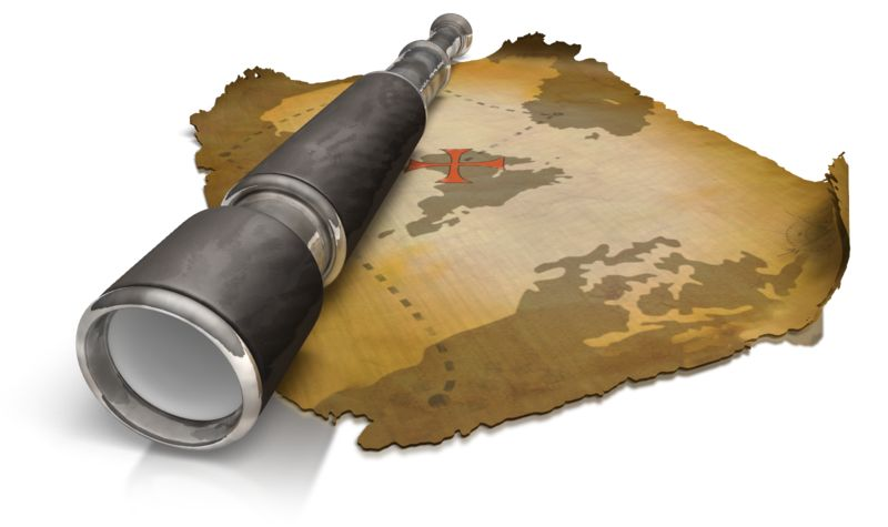 Clipart - Treasure Map Spyglass