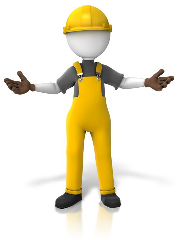 Clipart - Construction Worker Presenting Two Sides