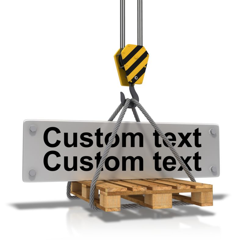 This Presentation Clipart shows a preview of Hook Carrying Construction Plate Text