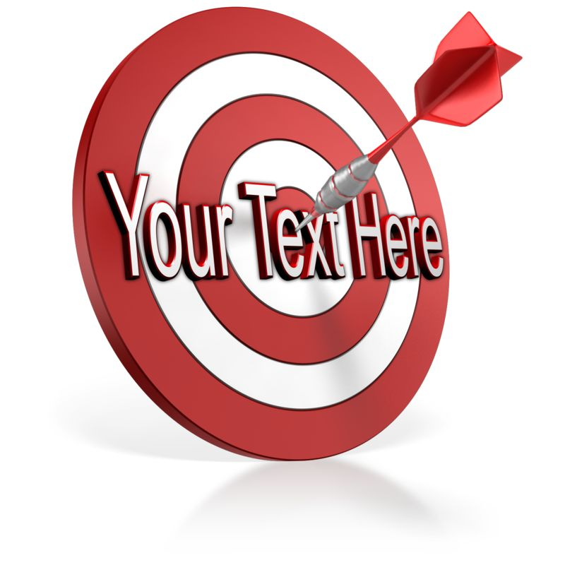 This Presentation Clipart shows a preview of Bullseye Dart Text