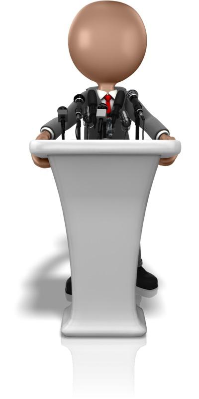 Clipart - Business Figure Talking Podium