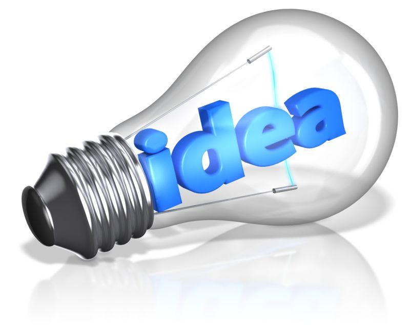 Clipart - Idea Text In Light Bulb