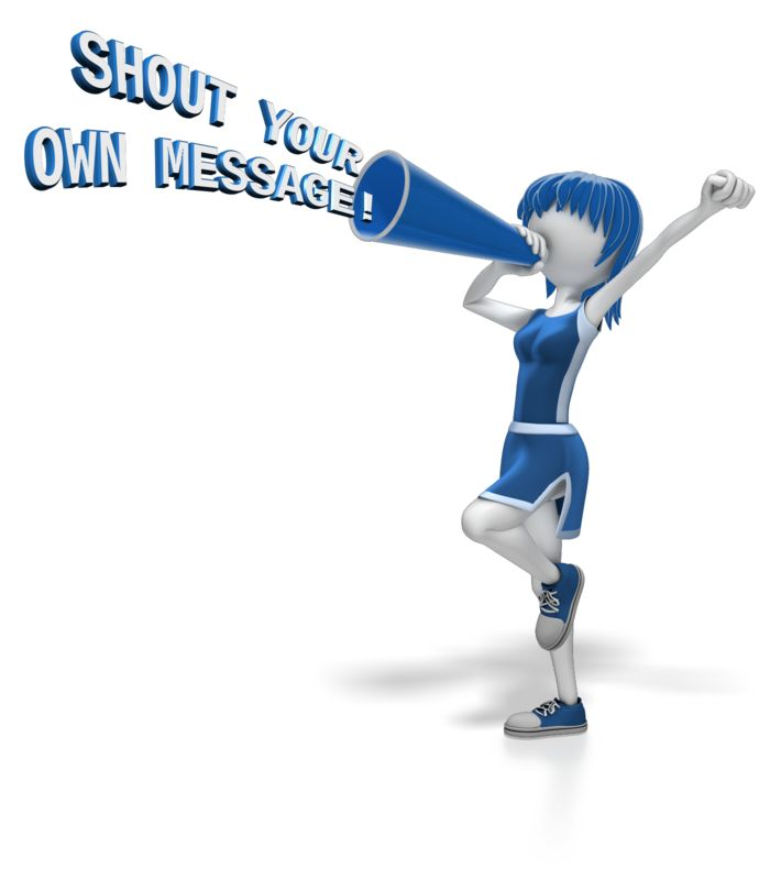 This Presentation Clipart shows a preview of Cheerleader Megaphone Text