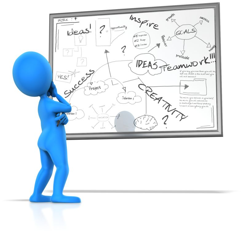 Clipart - Pondering White Board Writings