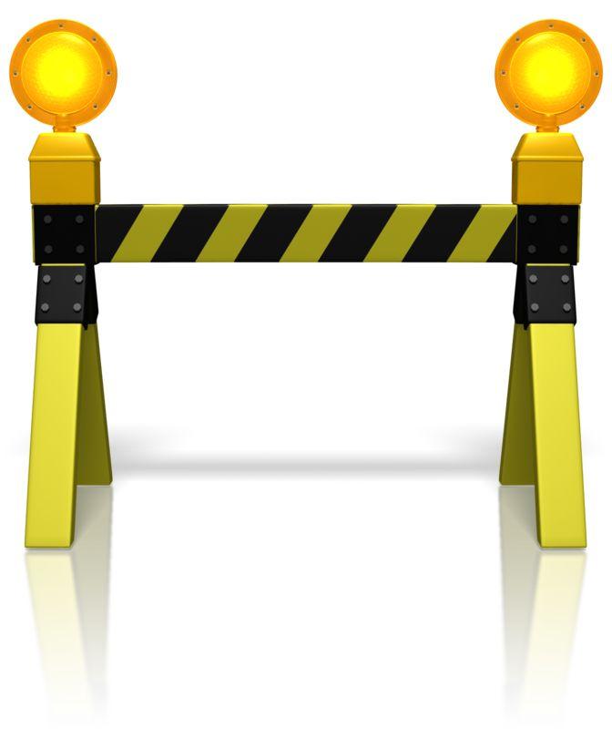 Clipart - Road Block Caution Lights