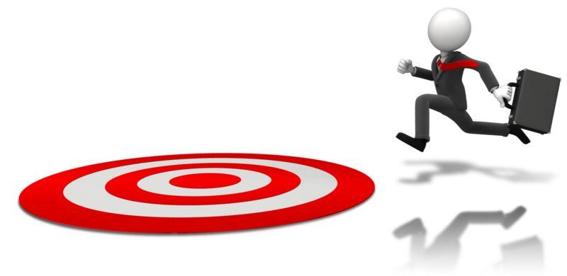 Clipart - Businessman Running To Target