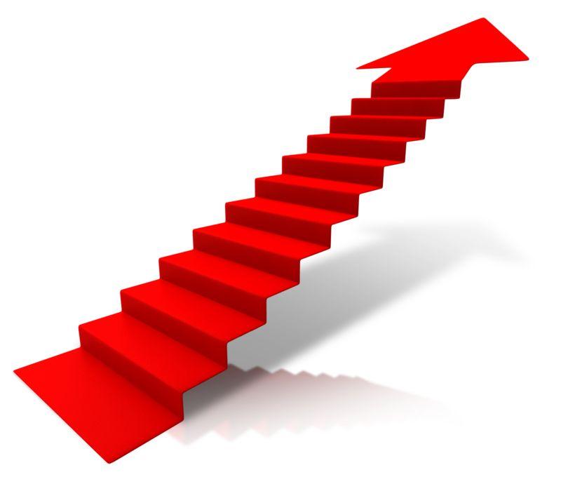 Clipart - Steps Climbing Up Arrow