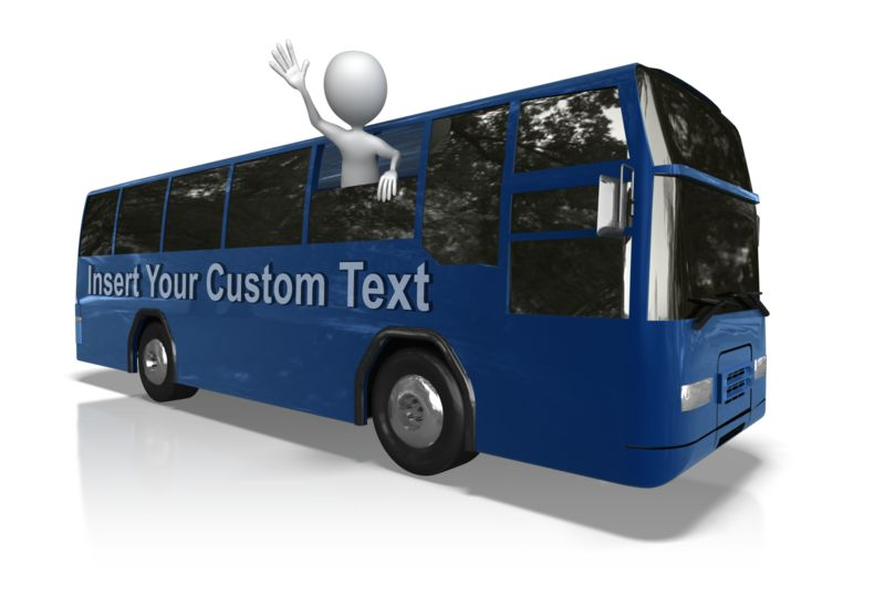 This Presentation Clipart shows a preview of Stick Figure Bus Trip