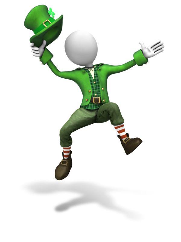 Clipart - Stick Figure Leprechaun Jumping