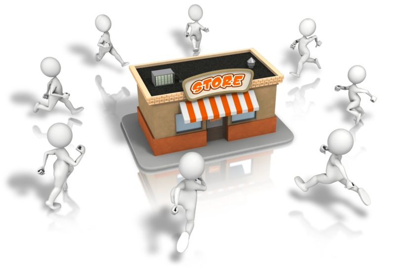 Clipart - Crowd Running To Store
