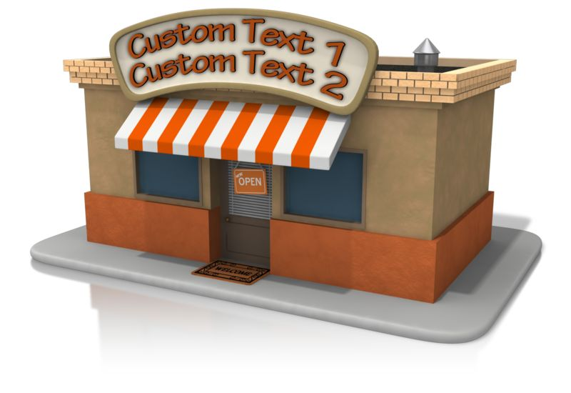 This Presentation Clipart shows a preview of Open Store Front Text