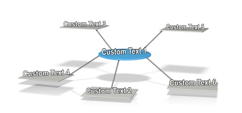 This clip art image shows five white square platforms connected to a blue circle platform in the center of them with a space on each platform for custom text.