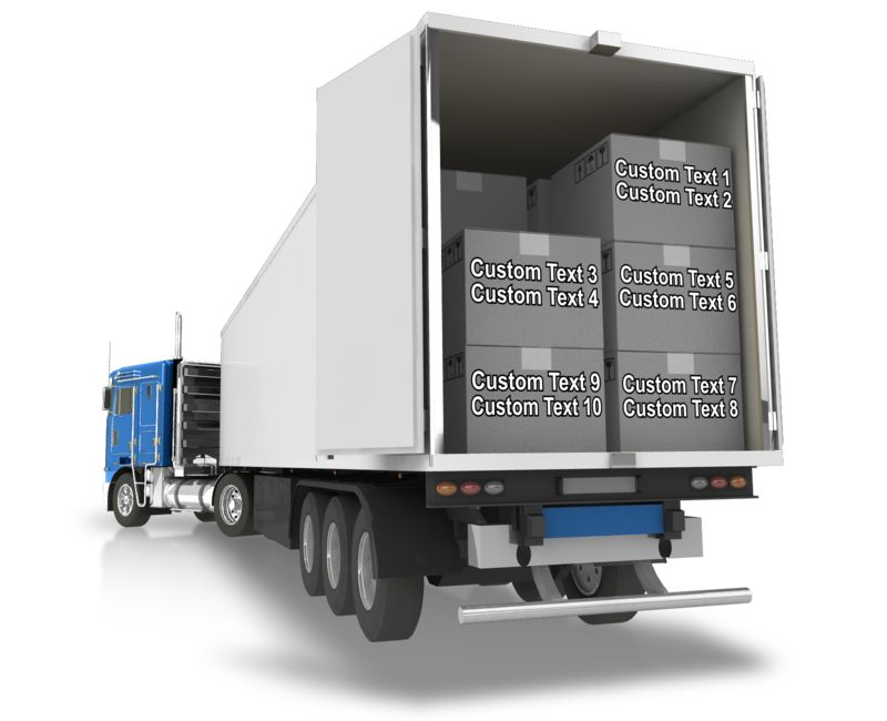 This Presentation Clipart shows a preview of Semi Trailer Backup Boxes Text