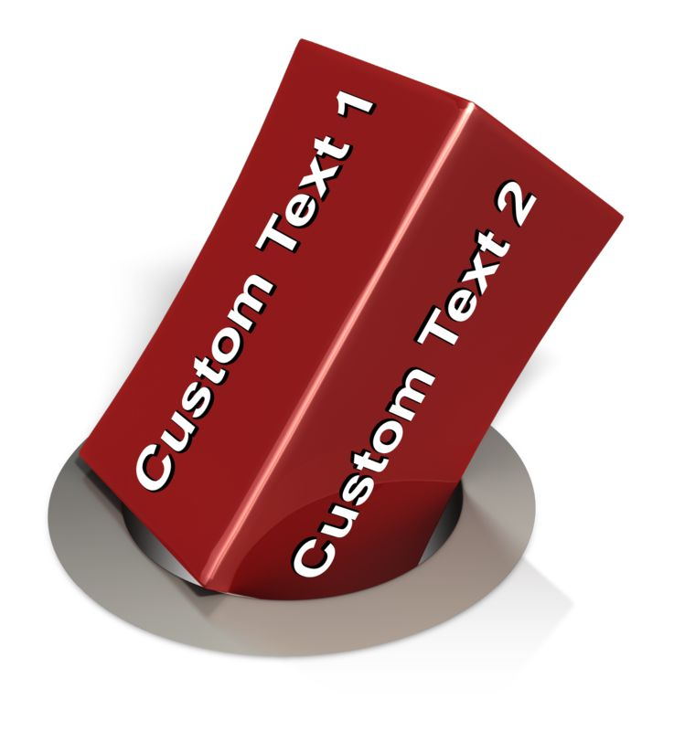 This clip art image shows a square peg trying to fit into a round hole with space on the square peg to put custom text.