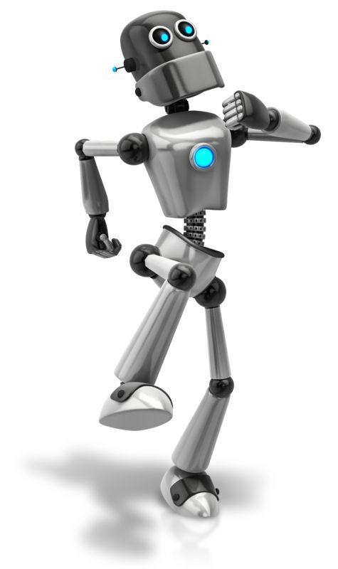 Clipart - Retro Robot Happy Walk
