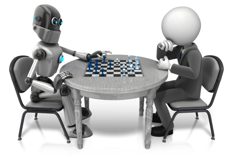 Clipart - Retro Robot Playing Chess