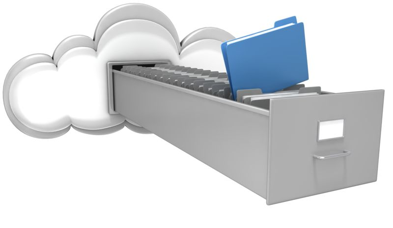 Clipart - Cloud with File Cabinet Drawer