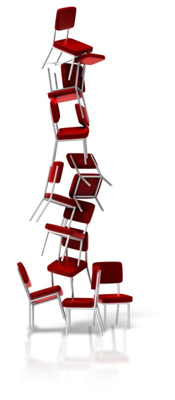 Clipart - Chairs Balancing Stacked
