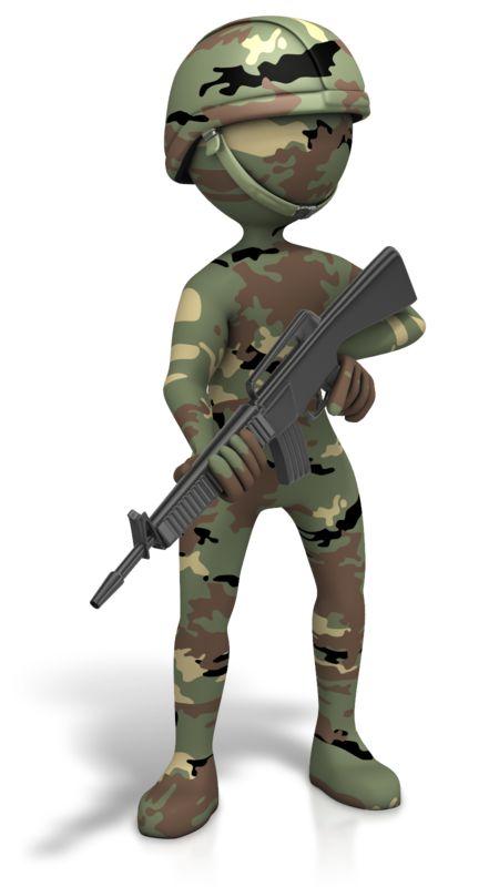 Clipart - Military Figure Camo Gun