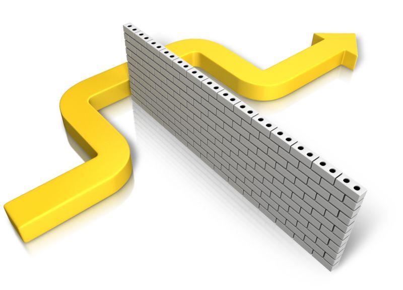 Clipart - Arrow Bending Around Wall