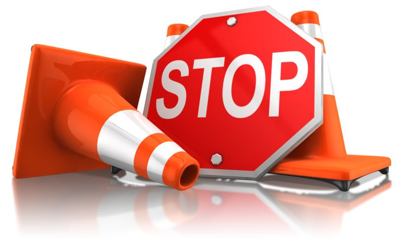 Clipart - Stop Sign With Traffic Cones
