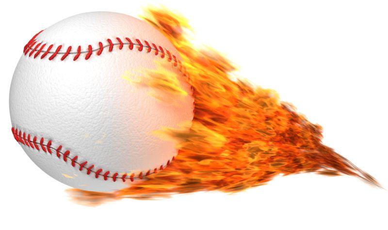 Clipart - Baseball Flaming