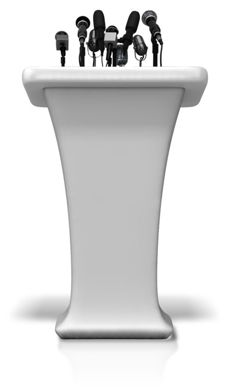 Clipart - Podium With Many Microphones