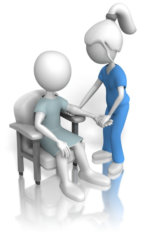 Clipart - Nurse or Doctor Inspecting Patient