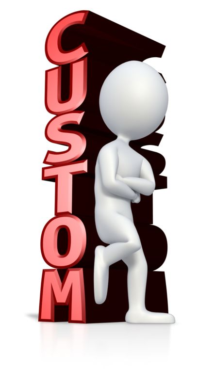 This clip art image shows a stick figure leaning against custom text.